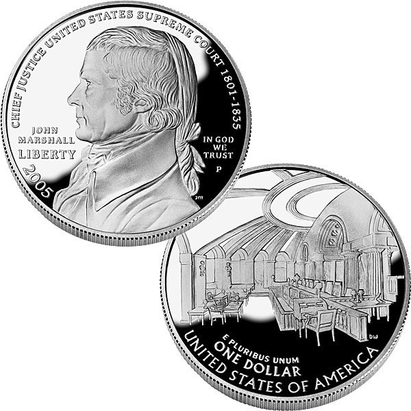2005-P Chief Justice J Marshall Proof Silver Dollar