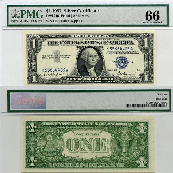 1957 $1 Silver Certificate Gem UNC 66 PMG