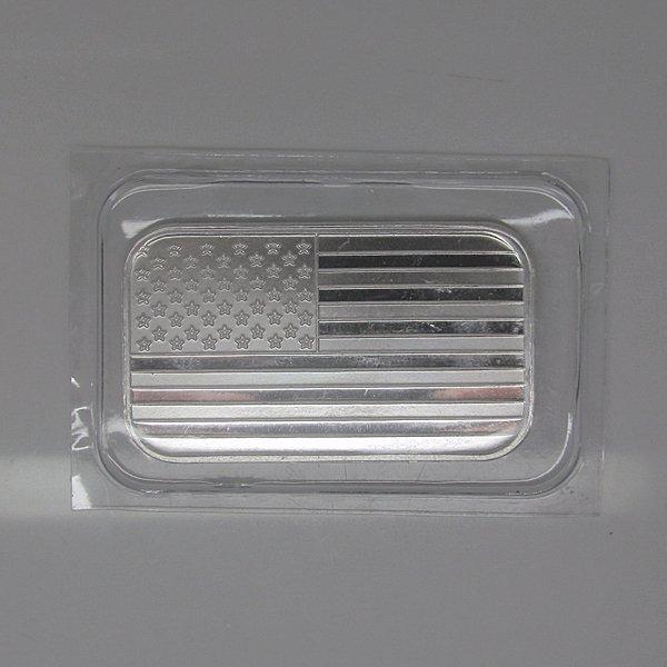 1 Oz American Flag Design .999 Fine Silver Bar