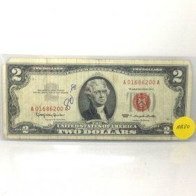 1963 $2 Bill - Red Seal Note #AB80