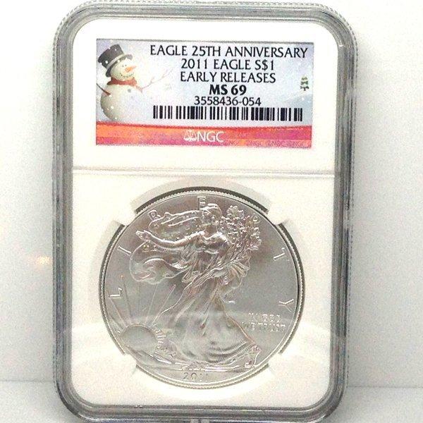 2011 Eagle 25th Ann Snowman ER MS69 NGC