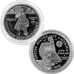 1992-P Columbus Quincentenary Proof Silver Dollar