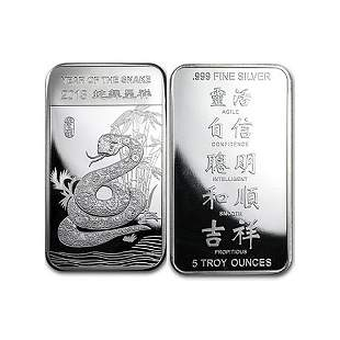 2013 5 Oz Year of the Snake .999 Fine Silver Bar