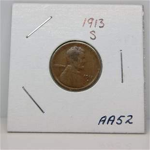 1913-S Lincoln Wheat Cent #AA52