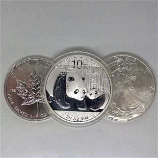 3-Coin Set: Silver Maple Leafe, Eagle & Panda - Unc