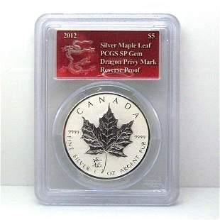2012 1 Oz Silver Maple Leaf - Dragon Mark SPGEM PCGS