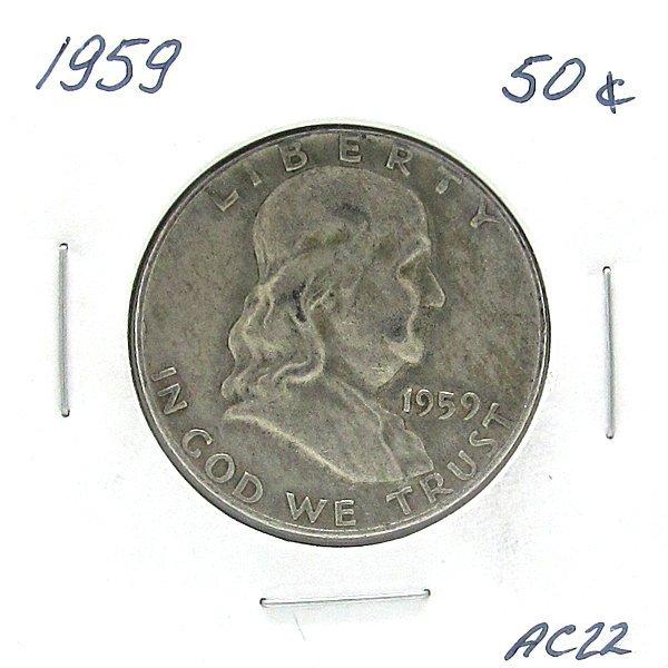 1959 Franklin Silver Half Dollar #AC22