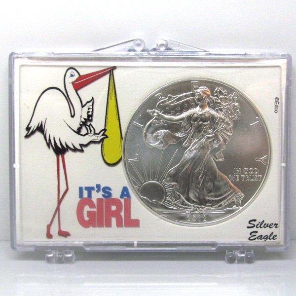 BU Silver Eagle - Its a Girl Stork Snap Lock