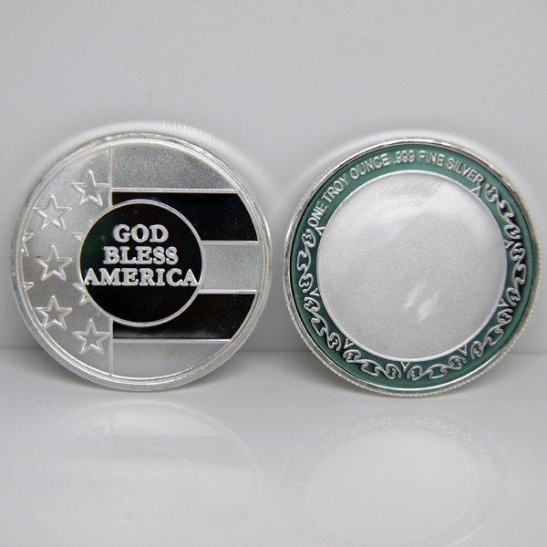 1 Oz God Bless America Design .999 Silver Round