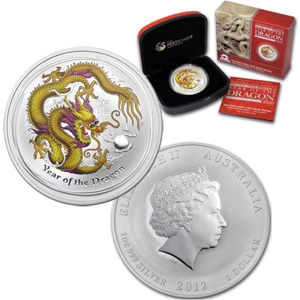 2012 1 Oz Silver Australian Yellow Dragon w/Box&CoA