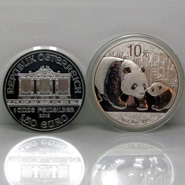 2-Coin Set: Silver Philharmonic & Chinese Panda - Unc