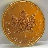 1/2 Oz BU 24k Gold Canadian Maple Leaf - Random Date!