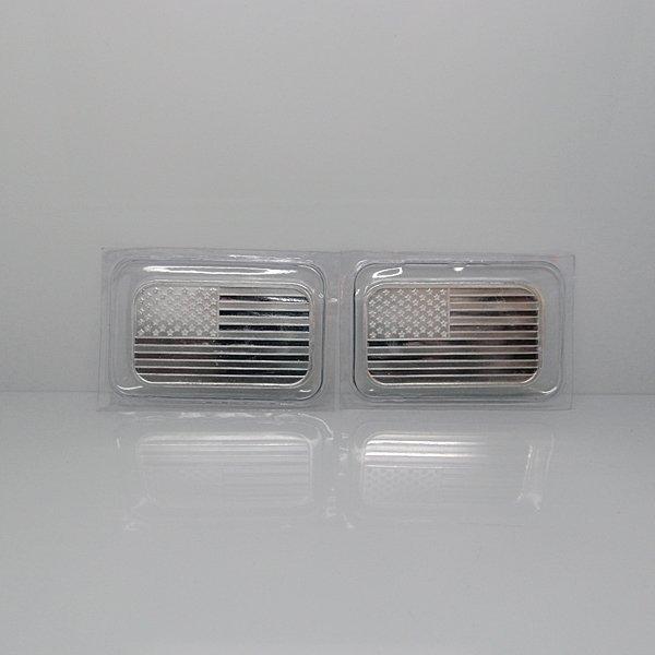 2-Bar Set: American Flag Design .999 Fine Silver Bars