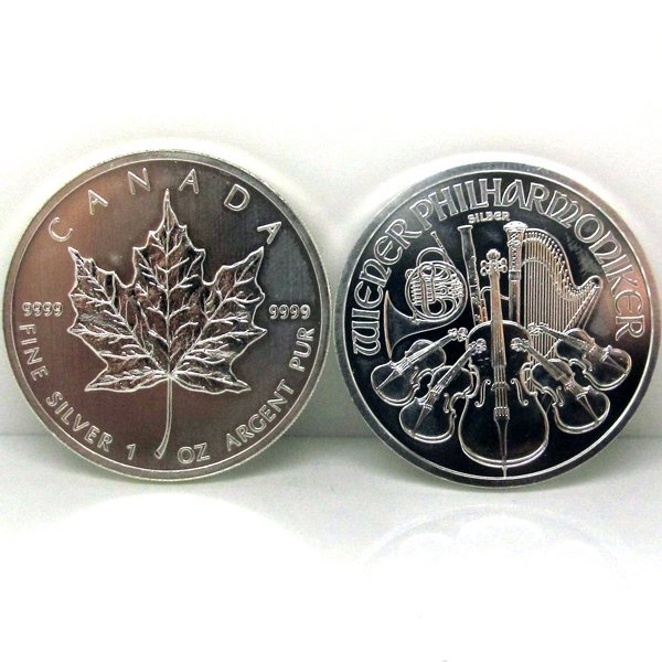 2-Coin Set: Silver Maple Leafe & Philharmonic - Unc