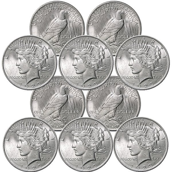 10-Coin Set: Peace Silver Dollars - Uncirculated