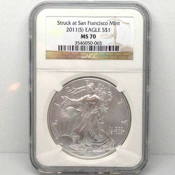 2011-(S) Silver Eagle MS70 NGC - Brown Label