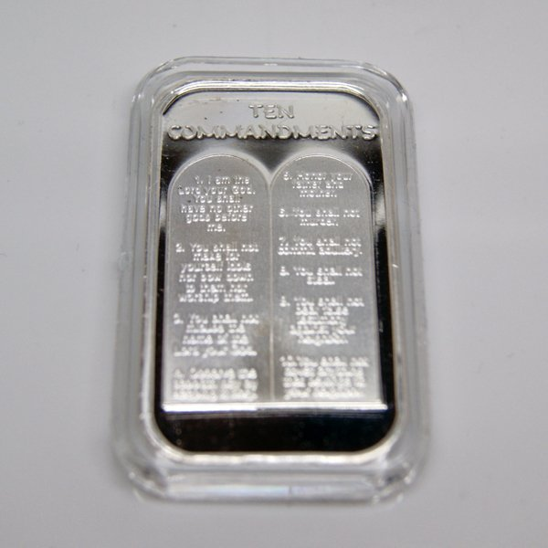 1 Oz Ten Commandments Design .999 Fine Silver Bar