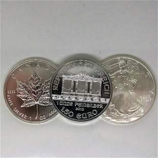 3-Coin Set: Maple Leafe,Eagle & Philharmonic - Unc
