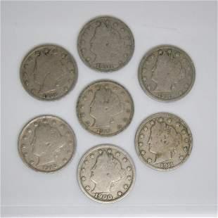 7-Coin Set Liberty Head V Nickel