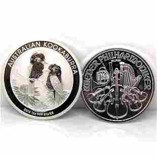 2-Coin Set: Silver Kookaburra & Philharmonic - Unc