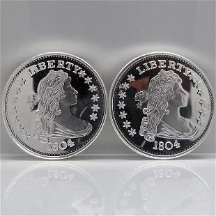 2-Coin Set:1804 Silver Dollar Design .999 Silver Rounds