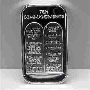1 Oz Ten Commandments Design .999 Fine Silver Bar