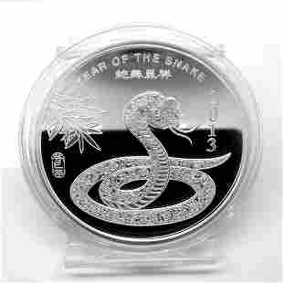 2013 5 Oz Year of the Snake .999 Fine Silver Round