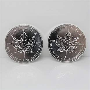 2-Coin Set: Canadian Silver Maple Leafs - Unc