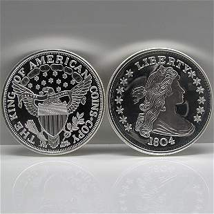 1 Oz 1804 Silver Dollar Design .999 Fine Silver Round