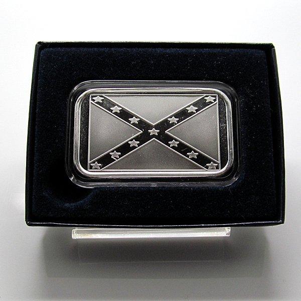 1 Oz Confederate Flag .999 Fine Silver Bar - w/Box