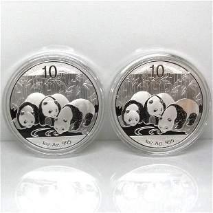 2-Coin Set: 2013 China Silver Panda - Unc