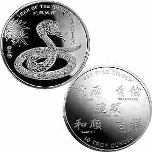 2013 10 Oz Year of the Snake .999 Fine Silver Round