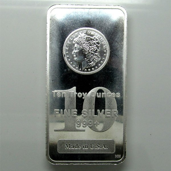 10 Oz Morgan Design .999 Fine Silver Bar