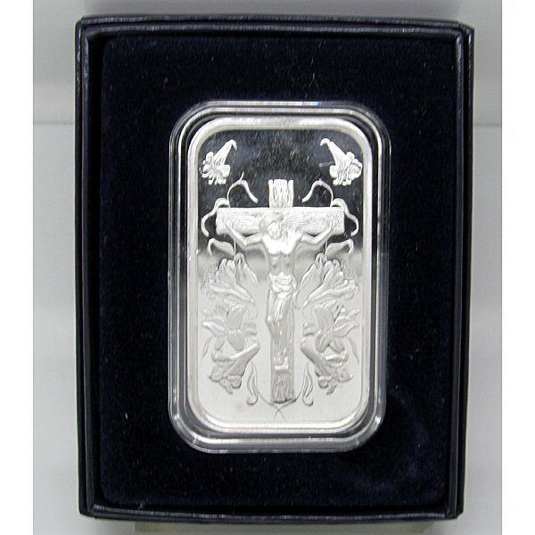 1 Oz Jesus Design .999 Fine Silver Bar - w/Gift Box