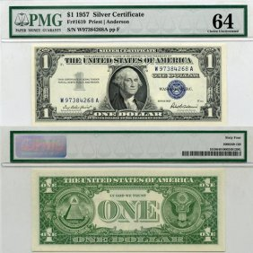 1957 $1 Silver Certificate Choice UNC 64 PMG
