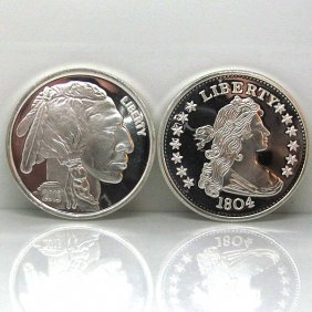 1804 Dollar & Buffalo Design .999 Silver Rounds