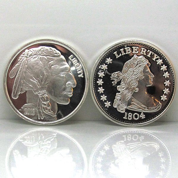 1804 Dollar & Buffalo Design .999 Silver Rounds