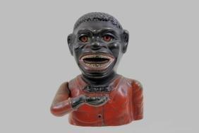 Jolly Black Man Mechanical Bank, Cast Iron & Dated