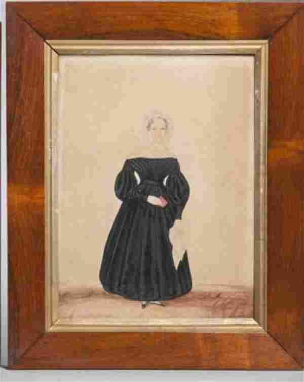 Watercolor & Gouache Portrait Woman Mourning 19th C