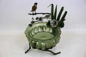 Czech Art Glass Bowl on Metal Frame w/ Bird