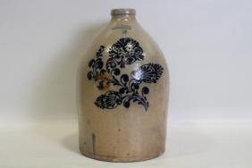 Norton 3 Gal Stoneware Jug Cobalt Floral
