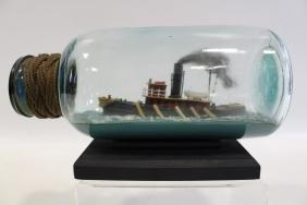 Tugboat Ship in a Bottle Early 20th Century, Folk Art