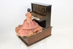 Crank Music Box Automaton Victorian Lady Playing Piano