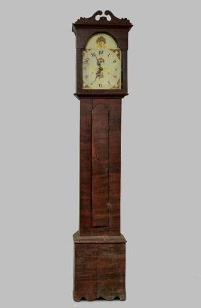 R Whiting Grain-Painted Tall Case Clock, Wooden Works