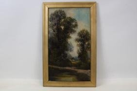 I. H. King Oil on Canvas Landscape Painting 19th C.