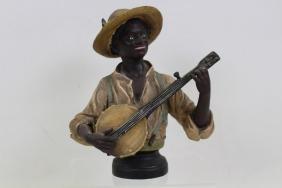 Black Americana Plaster Bust of Man Playing Banjo