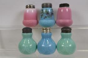 Lot of 6 Victorian Era Salt Shakers - Floral, Pink &