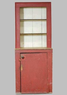 19th C Red-Painted Pine Cupboard