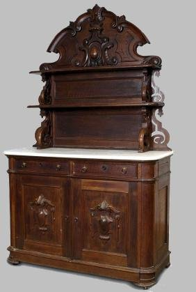 Mid-19th C Renaissance Revival Carved Walnut Sideboard