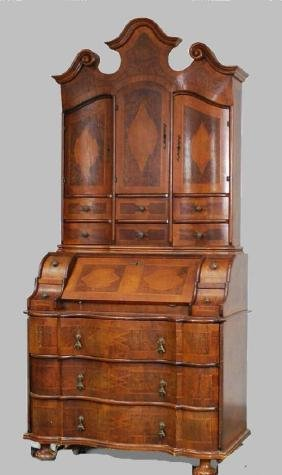Mid-19th C Marquetry Walnut Bookcase Secretary